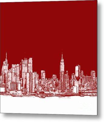 New York City Red Skyline  Metal Print by Building  Art