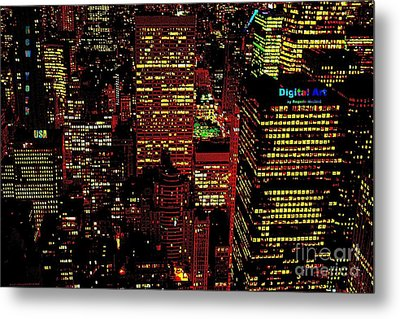 Metal Print featuring the mixed media New York City by Rogerio Mariani