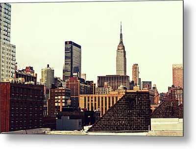 New York City Rooftops And The Empire State Building Metal Print by Vivienne Gucwa