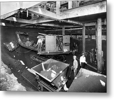 New York City, Workmen In The Tunnels Metal Print by Everett