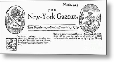 New York Gazette, 1733 Metal Print by Granger