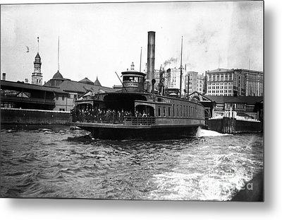 New York Harbour Steamship Whitehall Leaving Port A Summers Day In 1904 Metal Print by Finn Trygvason Klingenberg