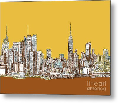 New York Mustard Sepia Metal Print