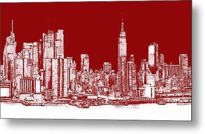 New York Rectangular Skyline Red Metal Print by Building  Art