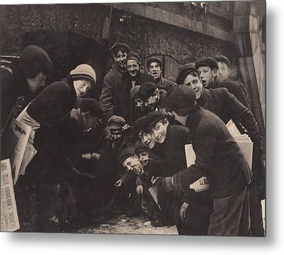 Newsboys Playing A Dice Game Metal Print by Everett