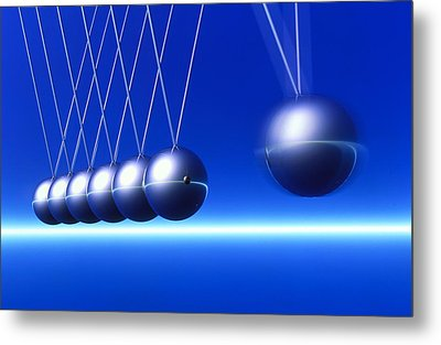 Newton's Cradle In Motion Metal Print by Pasieka