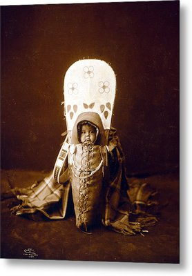 Nez Perc� Infant In Cradleboard. Edward Metal Print by Everett