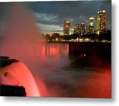 Niagara Falls At Night Metal Print by Mark J Seefeldt