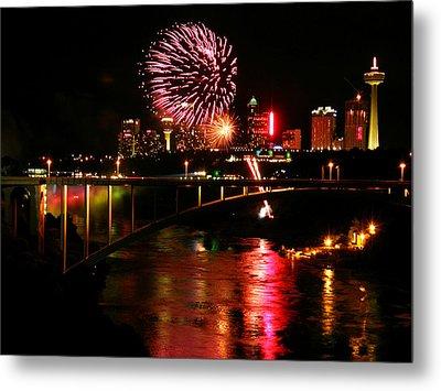 Niagara Falls Fireworks Metal Print by Mark J Seefeldt