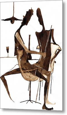 Metal Print featuring the drawing Nice Evening by Maya Manolova
