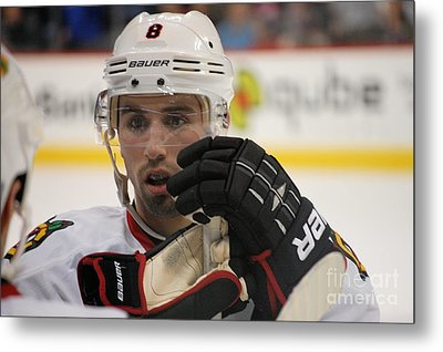 Nick Leddy - Chicago Blackhawks Metal Print by Melissa Goodrich