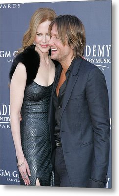Nicole Kidman, Keith Urban At Arrivals Metal Print by Everett
