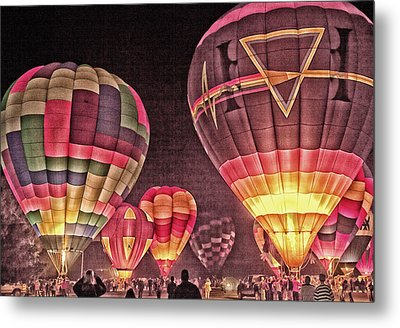 Metal Print featuring the photograph Night Balloon Lighting by James Bethanis