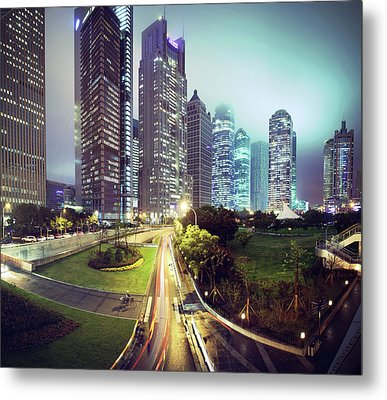 Night Fog Over Shanghai Cityscape Metal Print by Blackstation