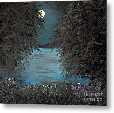 Metal Print featuring the painting Night In The Bayou by Alys Caviness-Gober