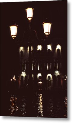 Metal Print featuring the photograph Night Lights Grand Canal Venice by Tom Wurl