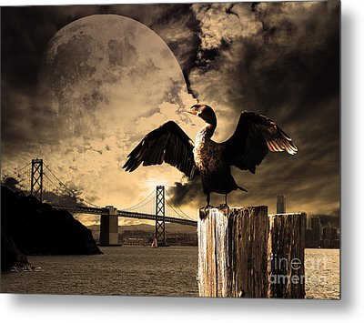 Night Of The Cormorant Metal Print by Wingsdomain Art and Photography