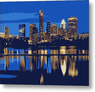 Night Skyline Color 6 Metal Print by Scott Kelley