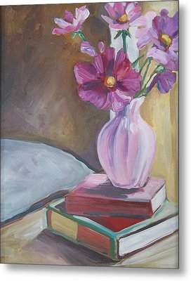Night Stand With Flowers And Books Metal Print by Michelle Grove
