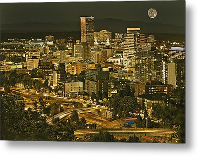 Night View Of Portland City Downtown Metal Print by Tatiana Boyle