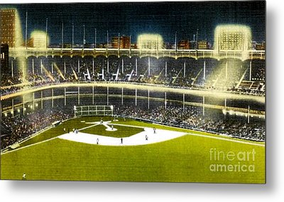 Night View Of Yankee Stadium In The 1950's Metal Print