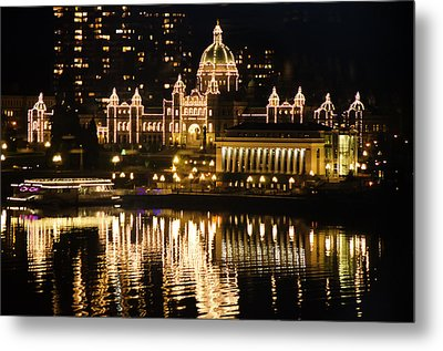 Nightscape Of Parliment Metal Print by MaryJane Armstrong