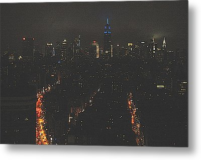 Nighttime Manhattan Skyline From Houston Street Metal Print