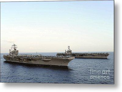 Nimitz-class Aircraft Carriers Transit Metal Print by Stocktrek Images