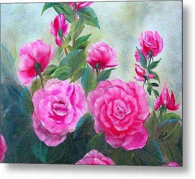 Nine Pink Roses Metal Print by Joni McPherson