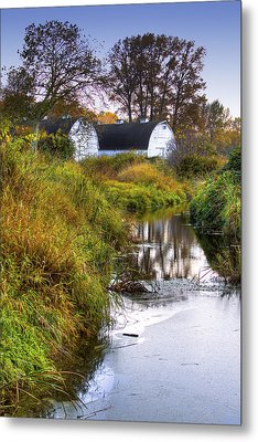Nisqually Wildlife Refuge P21 The Twin Barns Metal Print by David Patterson