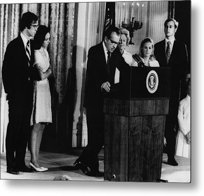 Nixon Presidency. From Left David Metal Print by Everett