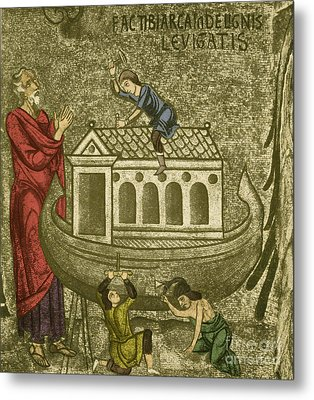 Noah Building The Ark Metal Print by Photo Researchers