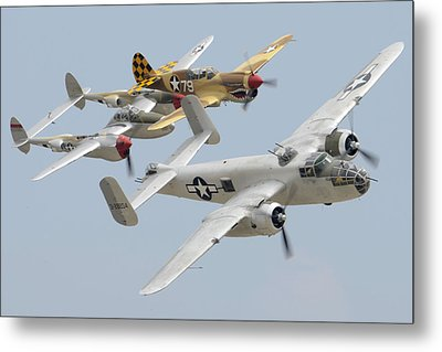 North American B-25j Mitchell Curtiss P-40n Warhawk Lockheed P-38l Lightning March 14 2011 Metal Print by Brian Lockett