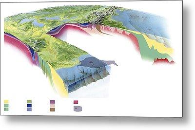 North American Geology And Oil Slick Metal Print by Gary Hincks