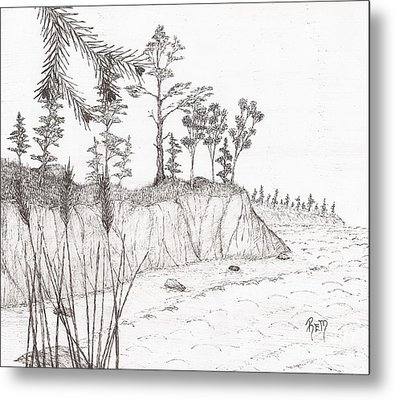 North Shore Memory... - Sketch Metal Print by Robert Meszaros