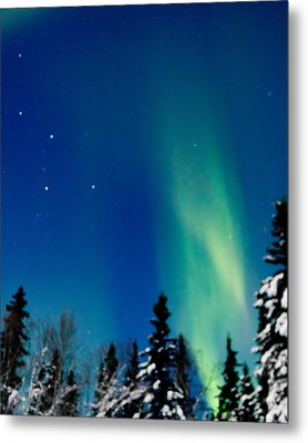 Northern Light Spiral To Cassiopeia Metal Print by John Aldabe