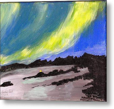 Metal Print featuring the painting Northern Lights 1 by Audrey Pollitt
