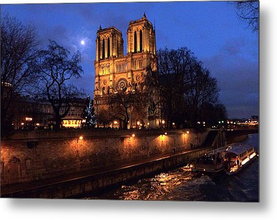 Notre Dame By Full Moon Metal Print by Amelia Racca