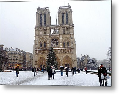 Notre Dame Christmas Paris Metal Print by Amelia Racca