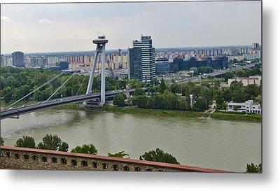 Novy Most Bridge - Bratislava Metal Print by Jon Berghoff
