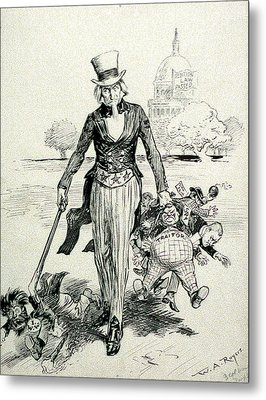 Now For A Round-up Uncle Sam Gathering Metal Print by Everett