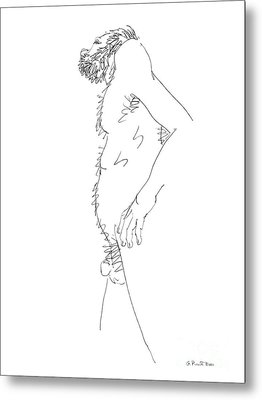 Metal Print featuring the drawing Nude Male Drawings 6 by Gordon Punt