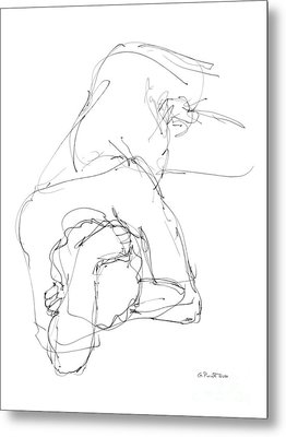 Metal Print featuring the drawing Nude Male Drawings 7 by Gordon Punt