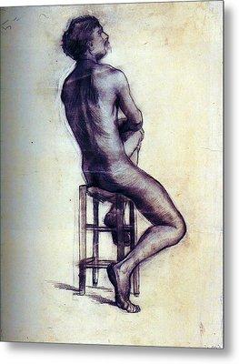 Nude Man Sketch Metal Print by Sumit Mehndiratta
