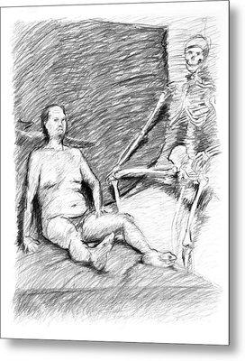 Nude Man With Skeleton Metal Print by Adam Long
