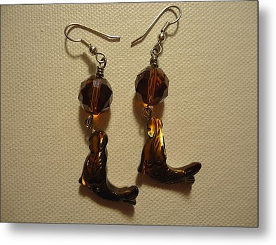 Nude Mermaid Earrings Metal Print