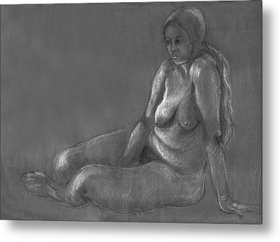 Nude Of A Real Woman In Black Metal Print