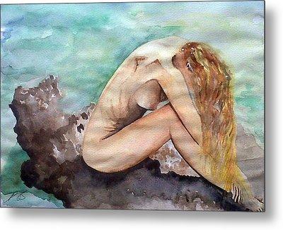 Nude On A Rock II. Metal Print by Paula Steffensen