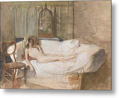 Nude On A Sofa Metal Print by John Ward