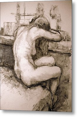 Nude On The Window Metal Print by Alfons Niex